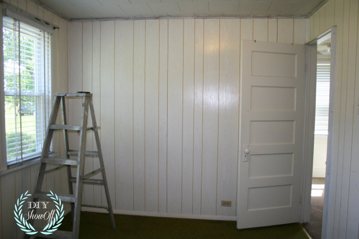 Painted stenciled paneled walls diy show off diy Should i paint wood paneling