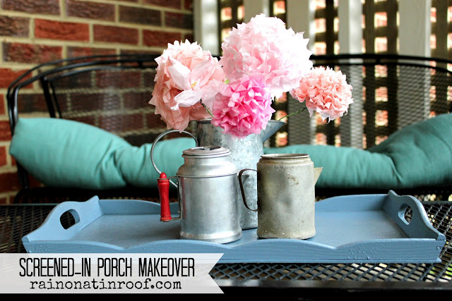 screened in porch makeover at Rain on a Tin Roof