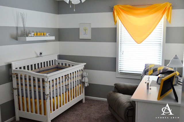 Arch striped nursery reveal