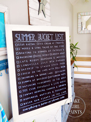 Chalk Summer Bucket List framed Art at Lake Girl Paints