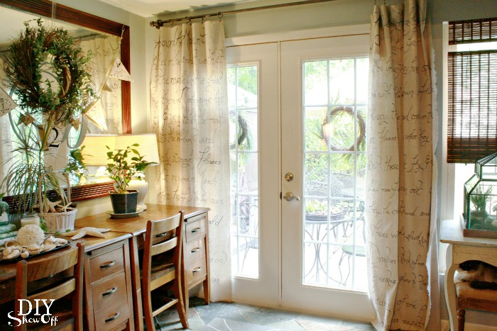 DIY script drop cloth drapes