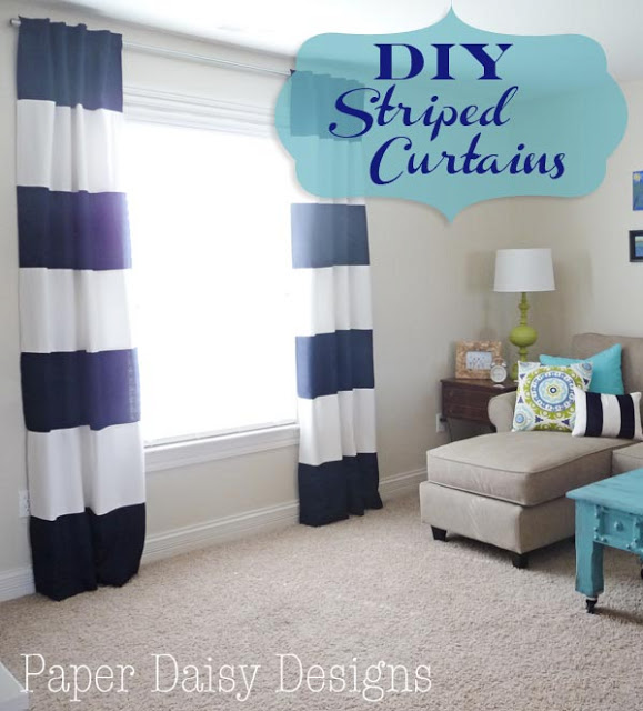DIY striped curtains at Paper Daisy Designs