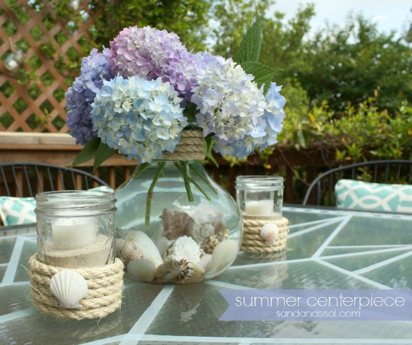 Summer-Centerpiece-Sand and Sisal