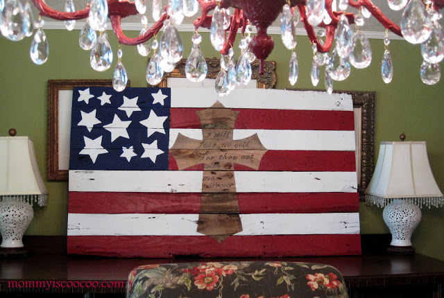 american flag with cross pallet by Mommy is CooCoo