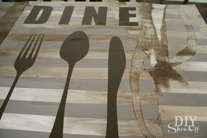distressed dine sign