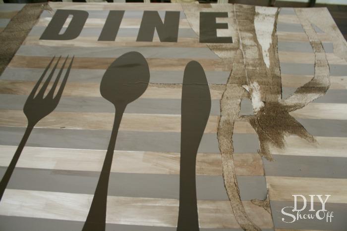 distressed dine sign