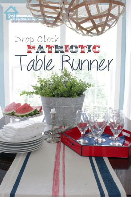 drop cloth patriotic runner remodelandolacasa