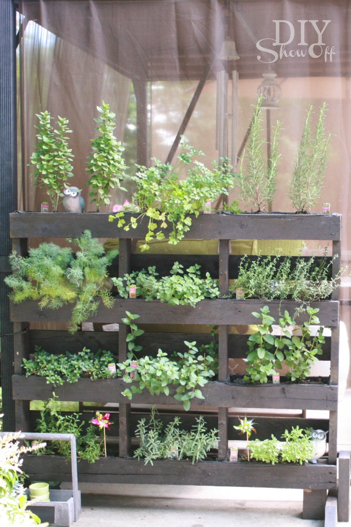free standing pallet herb garden