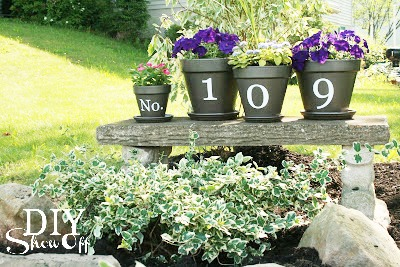 house number flower pots