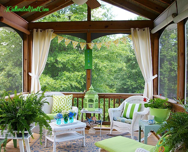screened-porch-decorating at A Cultivated Nest