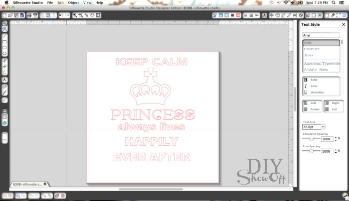 silhouette studio keep calm princess