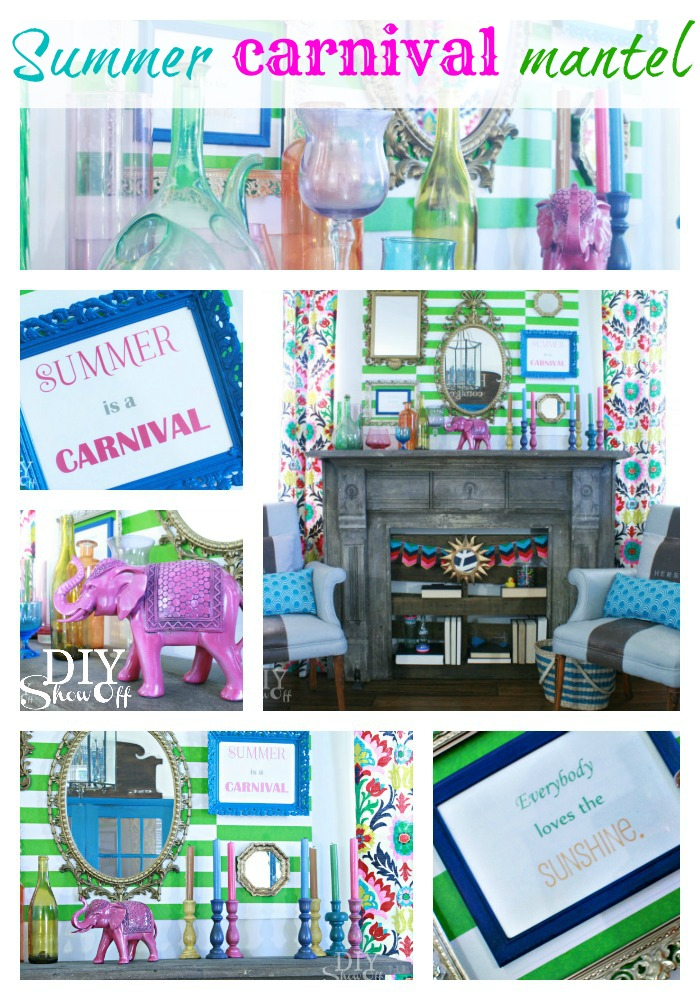 summer carnival mantel decor