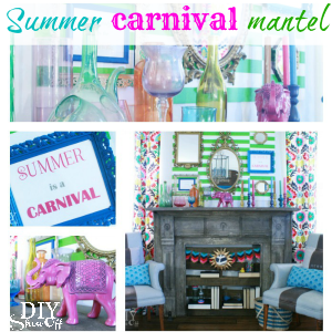 summer carnival mantel decorating