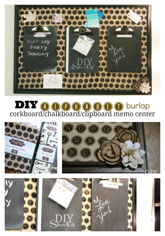DIY burlap message center