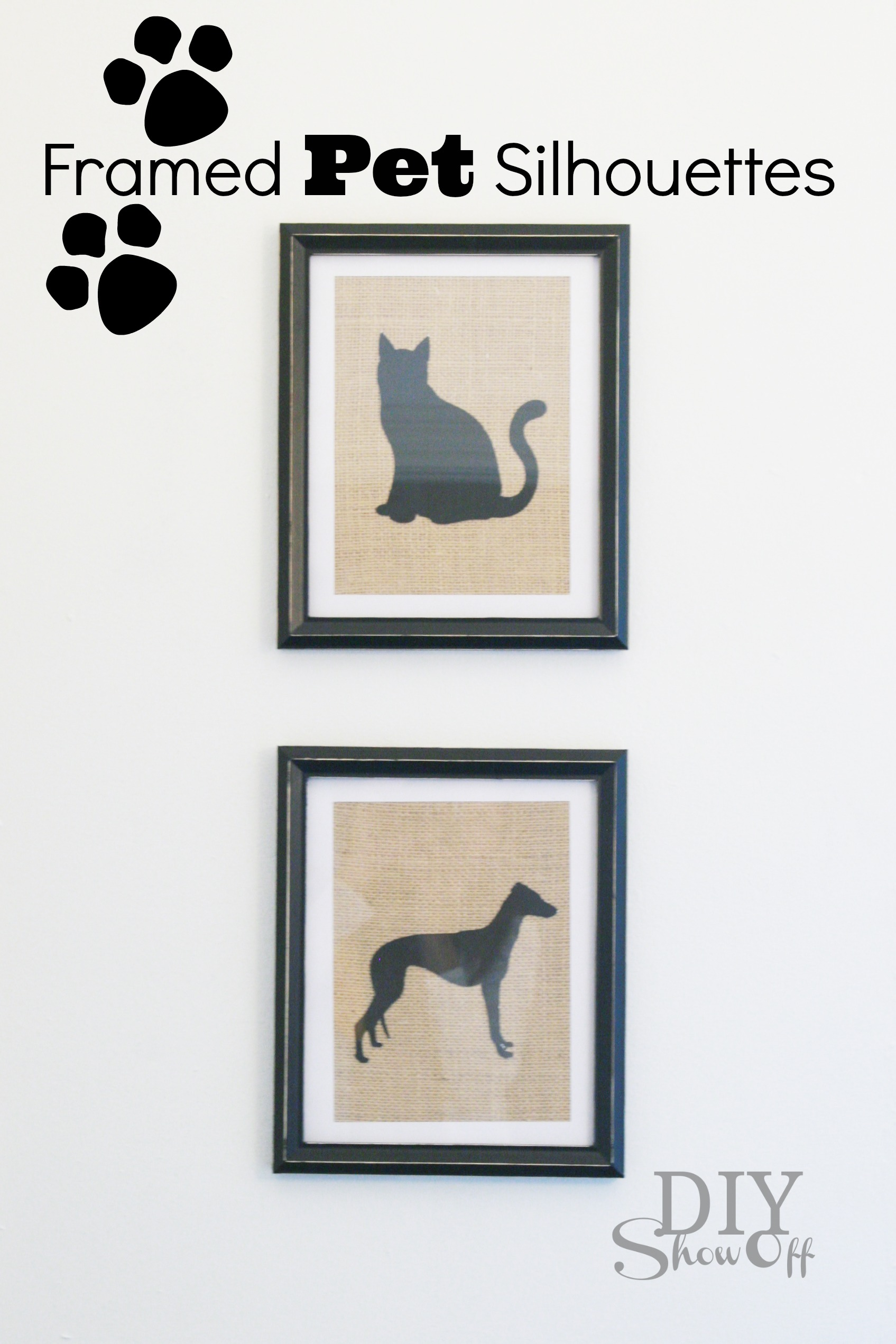 Framed Pet Silhouettes on Burlap