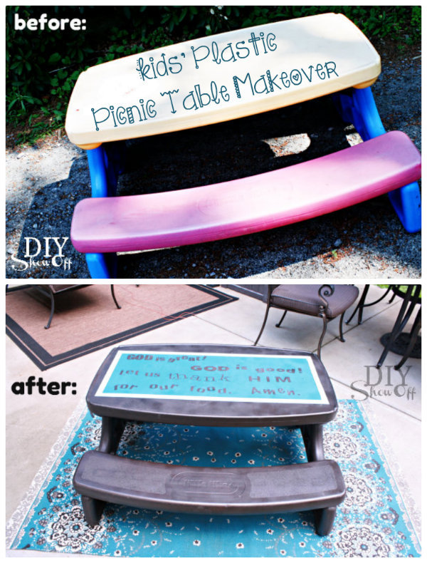 Plastic picnic table makeoverdiy show off diy decorating and plastic picnic table but when you dont have a yard full of fun brightly colored kids toys the red blue and yellow looks out of place watchthetrailerfo