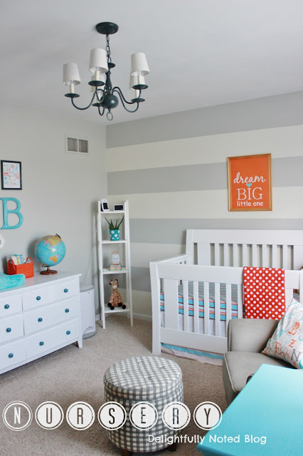 aqua orange nursery - Delightfully Noted