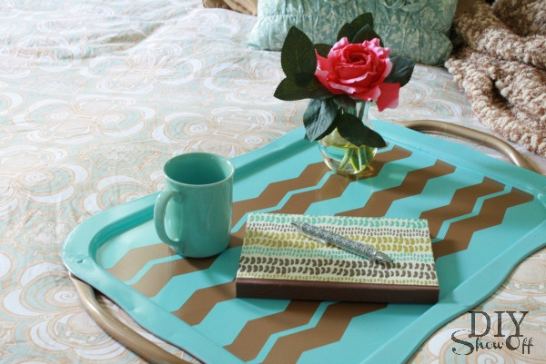 chevron serving tray makeover