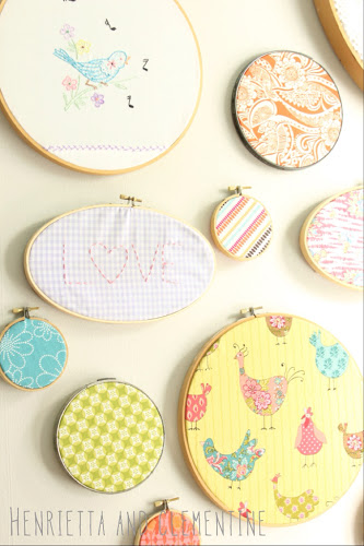 stitched hoop art at Henrietta and Clementine