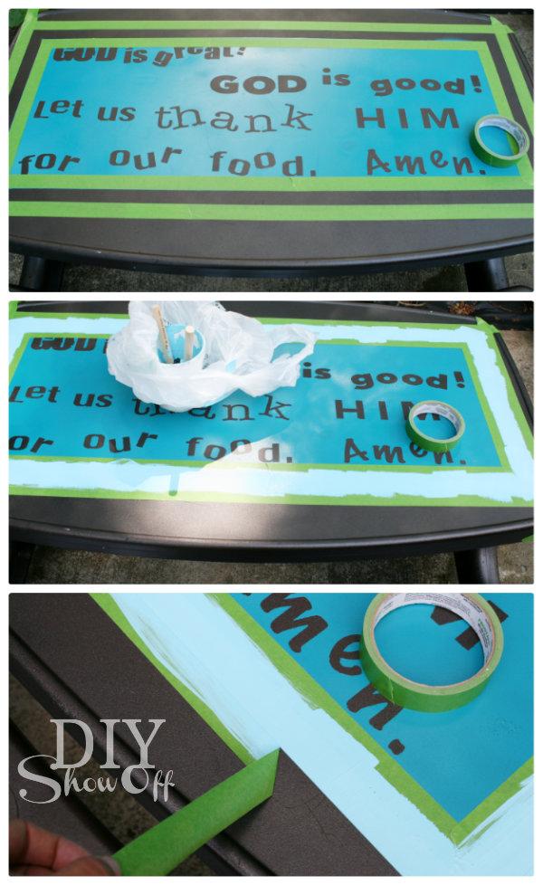 painting kids plastic picnic table