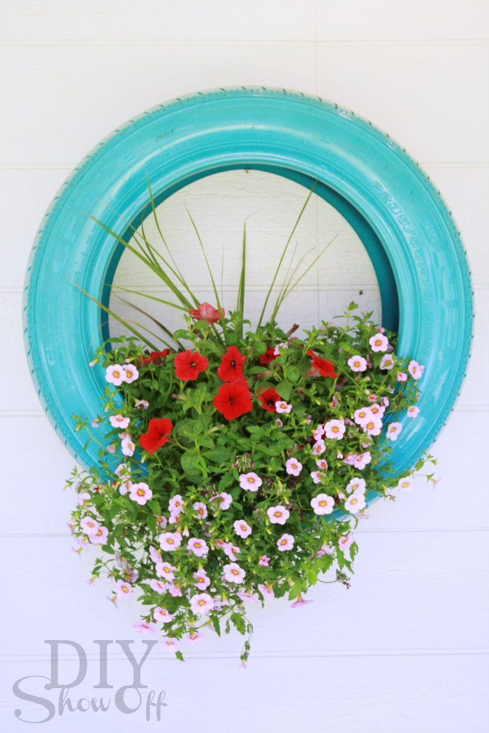 tire flower planter decor