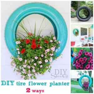 tire flower planter tutorial at DIYShowOff