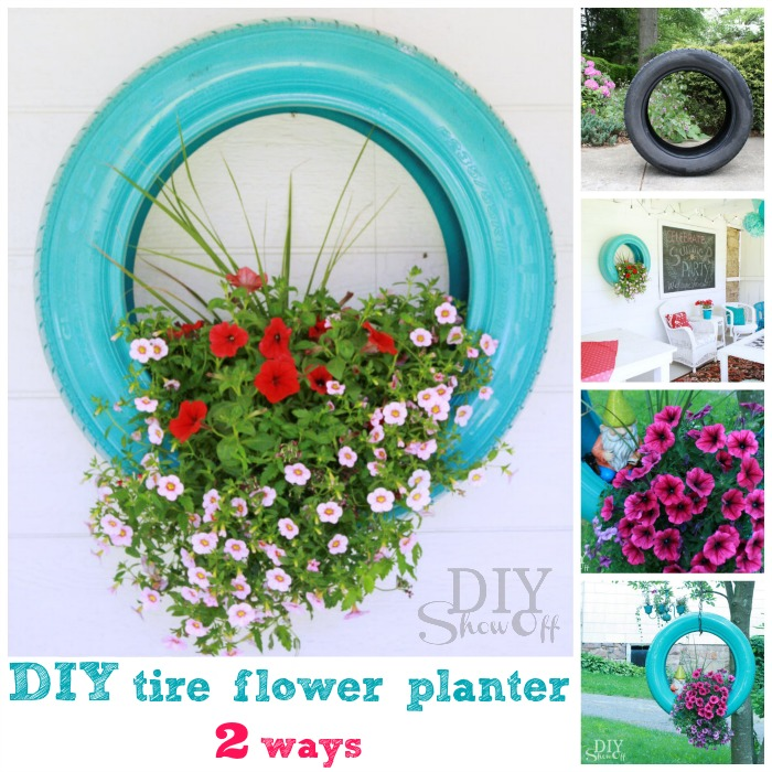 Diy tire planter tutorialdiy show off diy decorating and home diy tire flower planter tutorial solutioingenieria