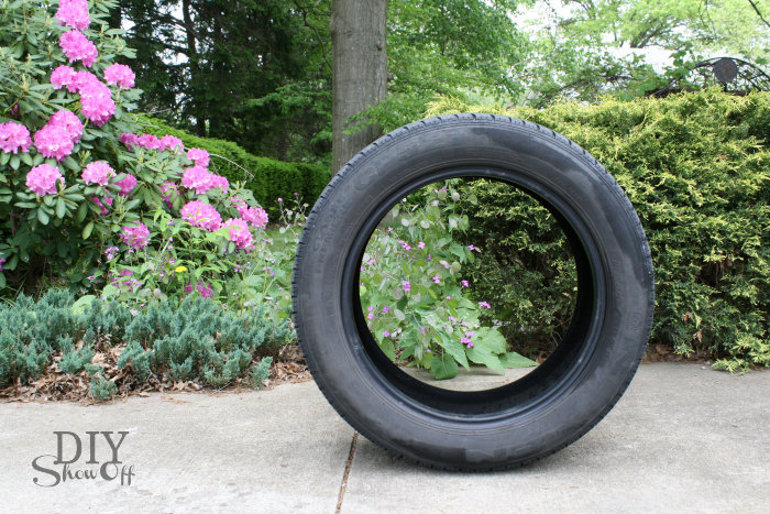 upcycled tire planter