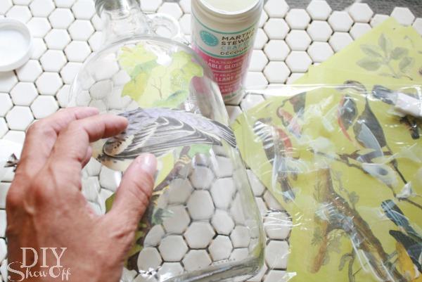 Fall Birds Decoupage Glass Tutorial