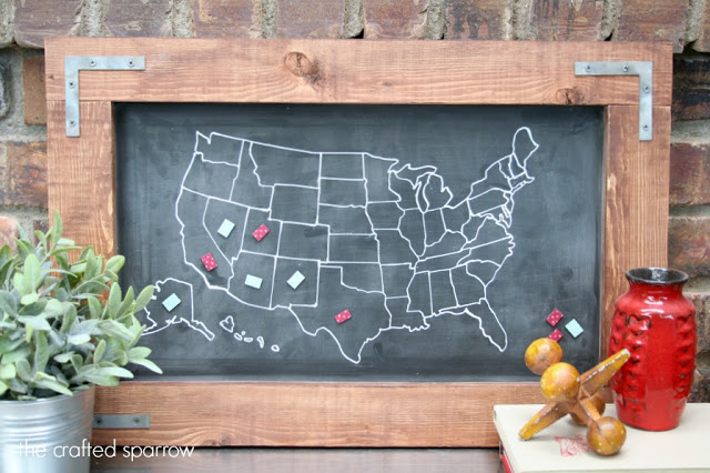 Travel Chalkboard Map The Crafted Sparrow