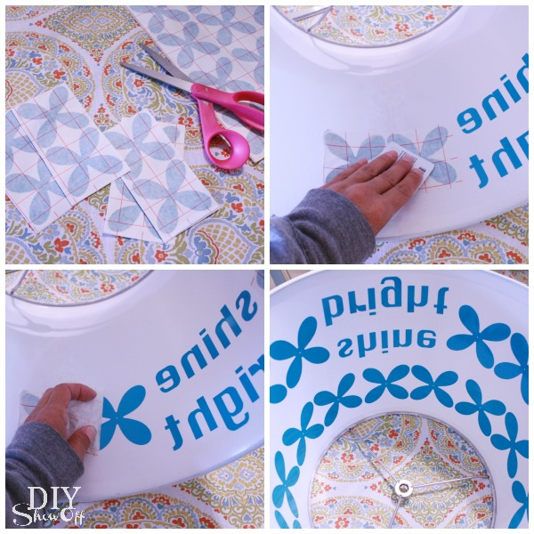 applying vinyl to plastic lamp shade