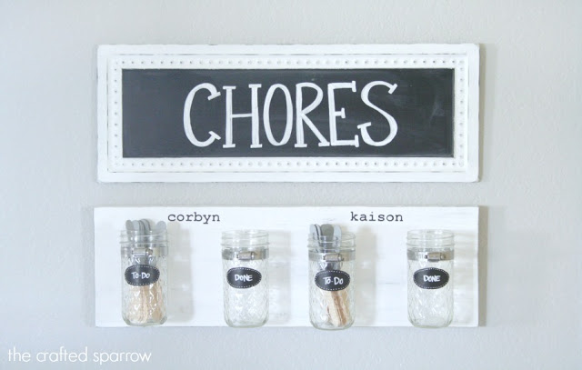 mason jar chore chart - The Crafted Sparrow