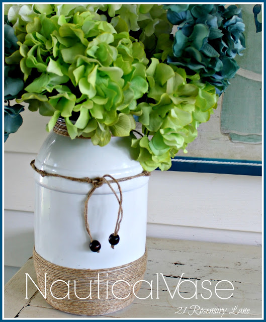 plastic pretzel jar turned nautical vase at 21 Rosemary Lane