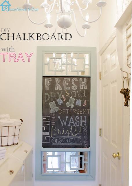 DIY chalkboard with tray - Remodelando la Casa
