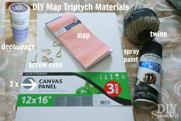 DIY map triptych materials