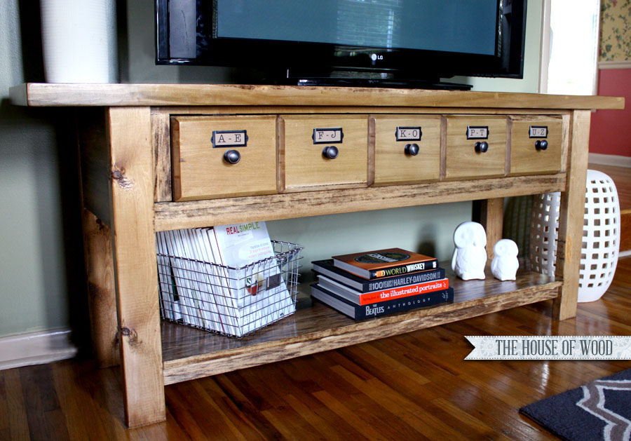 DIY media console at the House of Wood