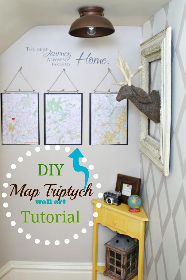 DIY wall art - map triptych tutorial