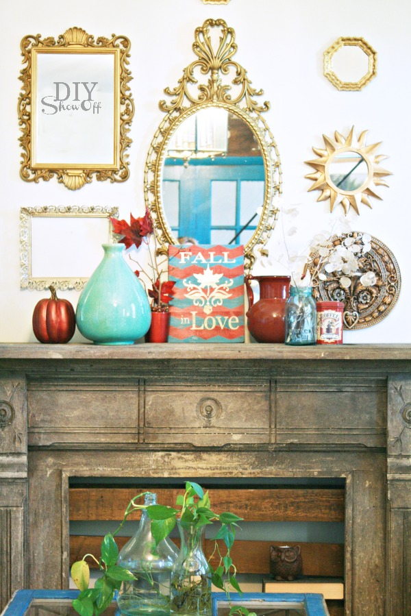 red gold turquoise fall mantel