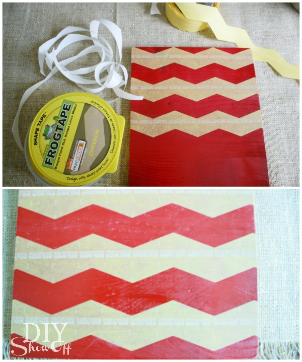 DIY chevron centerpiece base tutorial
