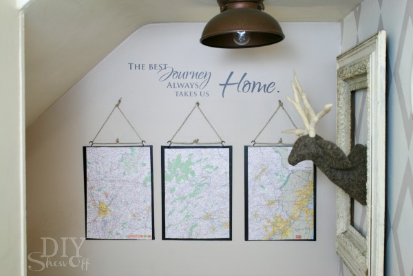DIY wall art - map triptych tutorial at http://diyshowoff.com