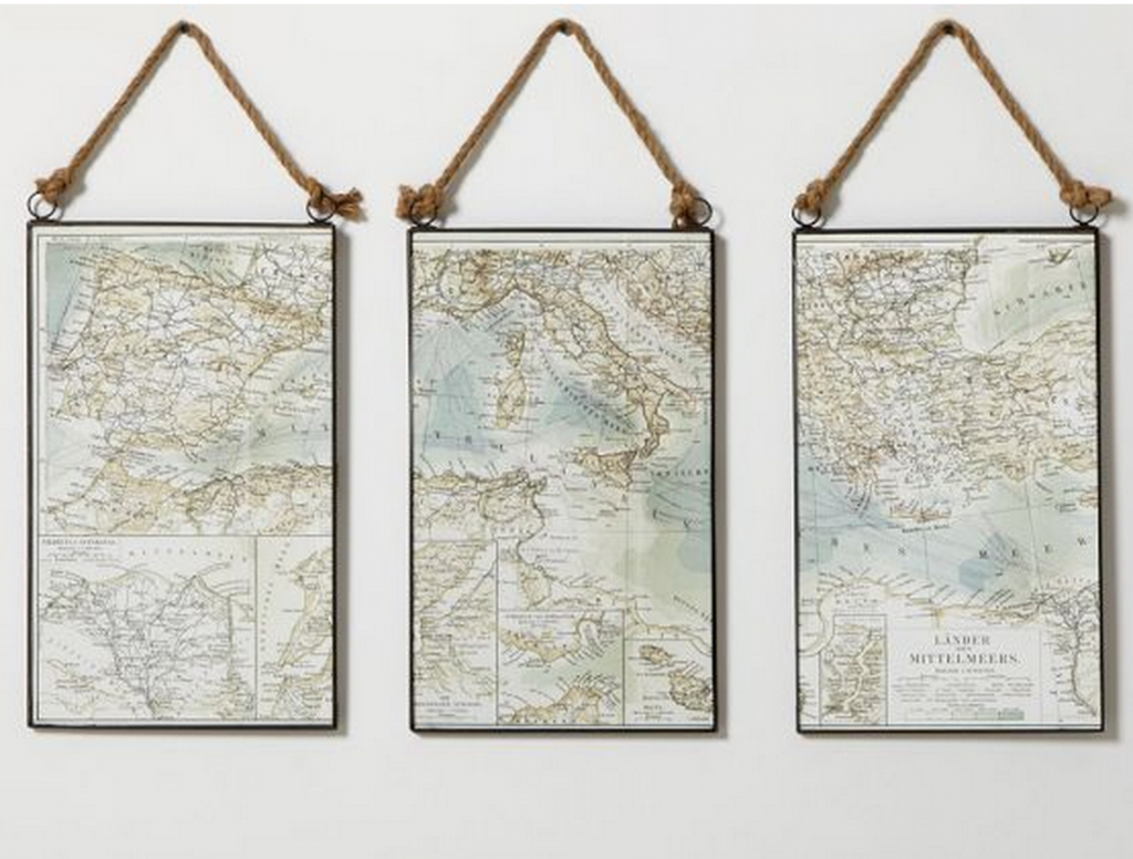 Pottery Barn Map Triptych