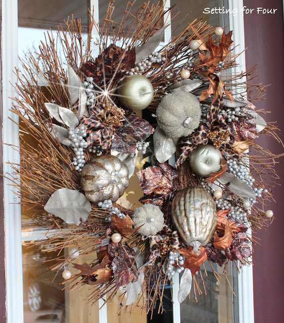 animal print fall wreath - Setting for Four