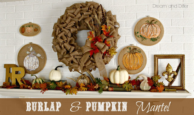 burlap and pumpkin mantel at Dream and Differ
