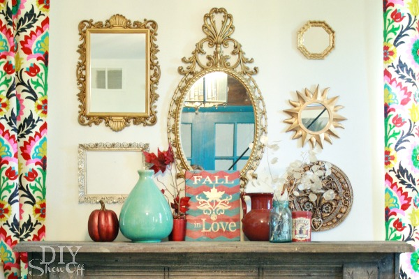 colorful fall mantel