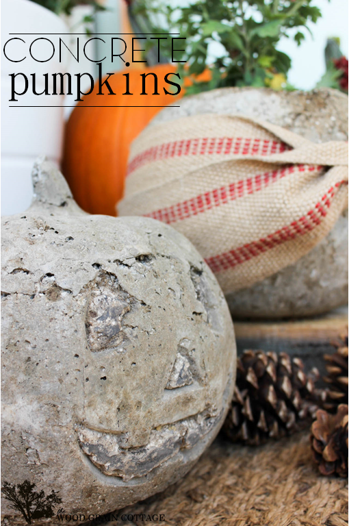 concrete pumpkins at The Wood Grain Cottage