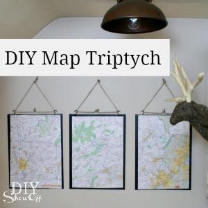 diy map triptych