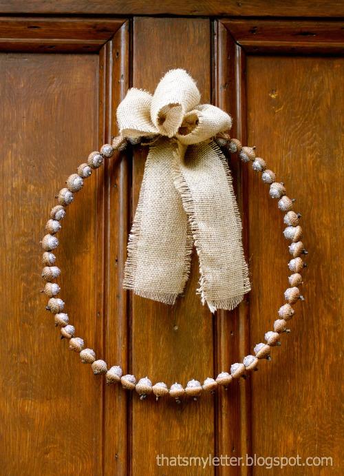 glittered acorn wreath - That's My Letter blog