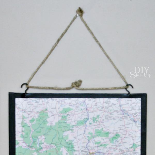 DIY wall art - map triptych tutorial at http://diyshowoff.com