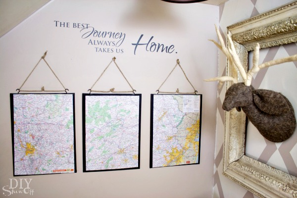 map triptych DIY tutorial