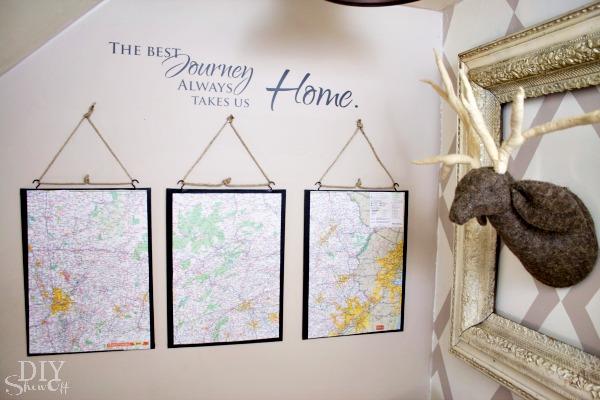 map triptych DIY tutorial
